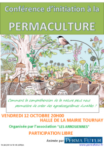 Affiche conférence Permaculture Tournay 12 octobre